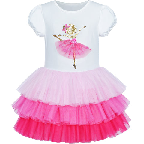 Girls Dress Pink Tutu Dancing Tiered Skirt Ballet Party Size 3-7 Years