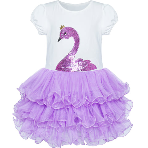 Girls Dress Purple Tutu Dancing Swan Ballet Sparkling Sequin Size 3-7 Years