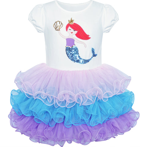 Girls Dress Mermaid Tutu Dancing Ballet Tiered  Skirt Size 3-7 Years