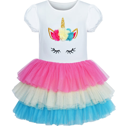 Girls Dress Rainbow Unicorn Tutu Dancing Ballet Tiered  Skirt Size 3-7 Years