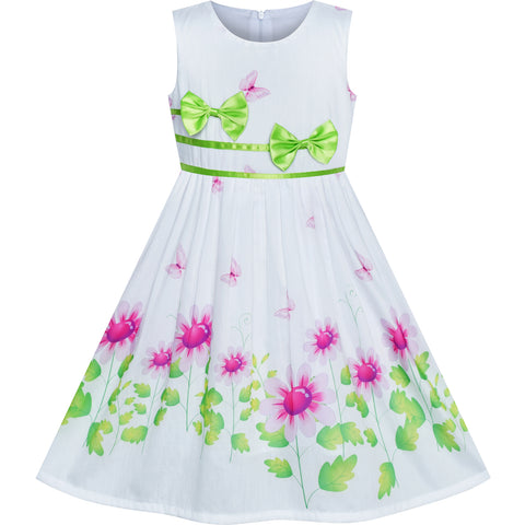 Girls Dress Flower Green Bow Tie Summer Sundress Size 4-12 Years