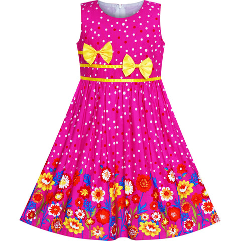 Girls Dress Flower Yellow Bow Tie Summer Sundress Size 4-12 Years