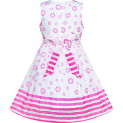 Girls Dress Pink Bubble Dot Summer Sundress Size 4-12 Years
