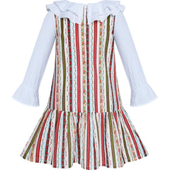 Girls Dress White Collar Back School Cotton Casual Size 3-7 Years