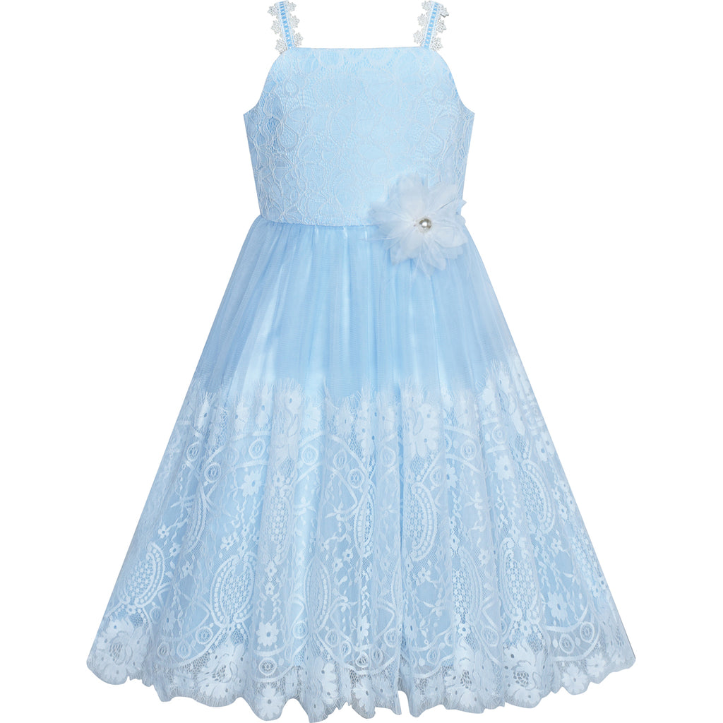 Flower Girls Dress Blue White Lace Wedding Party Bridesmaid Size 6-14 Years