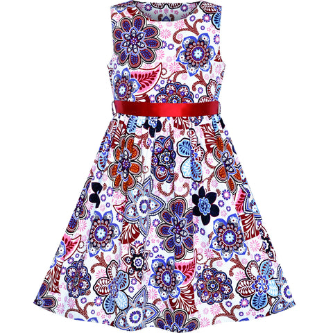 Girls Dress Cotton Casual Flower Summer Sundress Size 2-10 Years