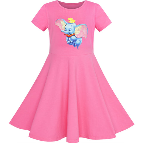 Girls Dress Pink Elephant Dumbo Embroidered Short Sleeve Size 4-8 Years