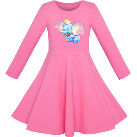 Girls Dress Pink Elephant Dumbo Embroidered Long Sleeve Size 4-8 Years