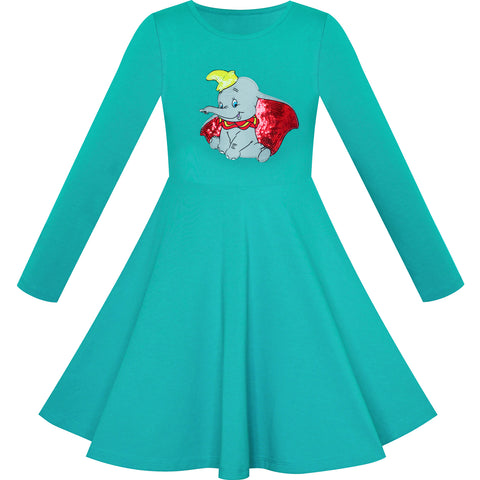 Girls Dress Green Elephant Dumbo Embroidered Long Sleeve Size 4-8 Years