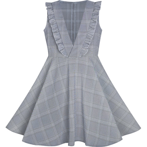 Girls Dress V Neck Pleated Hem Back School Uniform Gray Size 6-12 Years