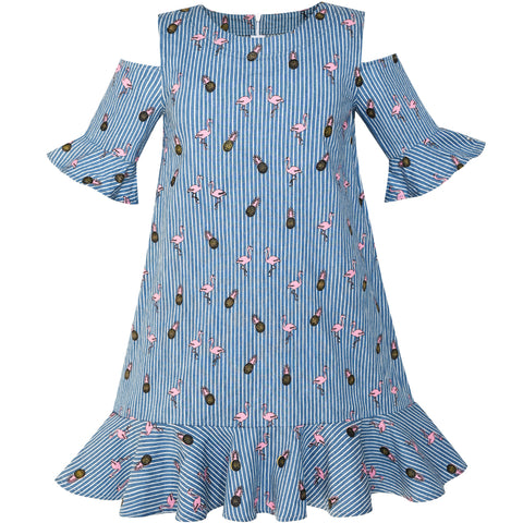 Girls Cold Shoulder Dress Denim Blue Pineapple Flamingo Size 6-12 Years