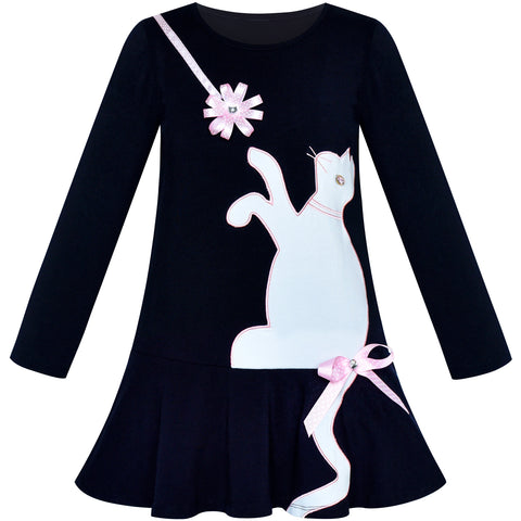 Girls Dress Cotton Casual Long Sleeve Cat Embroidered Size 3-7 Years