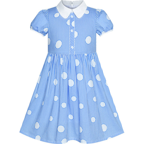Girls Dress School Uniform Blue Polka Dot White Collar Size 4-10 Years
