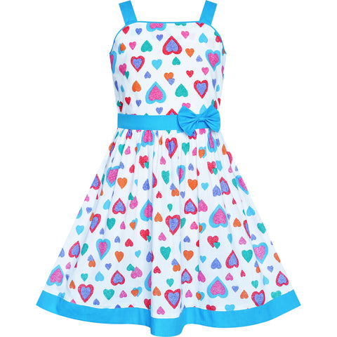 Girls Dress Colorful Heart Blue Bow Tie Summer Sundress Size 4-12 Years
