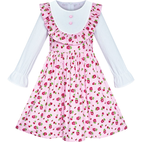 Girls Dress Pink Flower Long Sleeve Cotton Causal Dress Size 4-8 Years