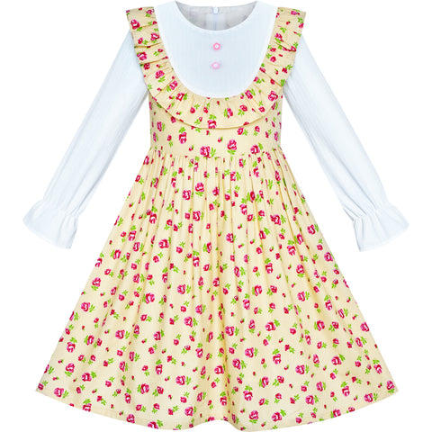 Girls Dress Yellow Floral Long Sleeve Cotton Causal Dress Size 4-8 Years