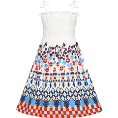 Girls Dress Tank Smocked Dress White Bohemian Dress Size 2-10 Years