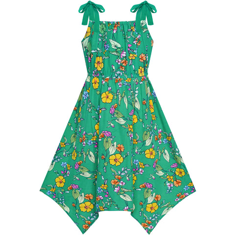 Girls Dress Green Flower Asymmetrical Hem Skirt Tank Dress Size 7-14 Years