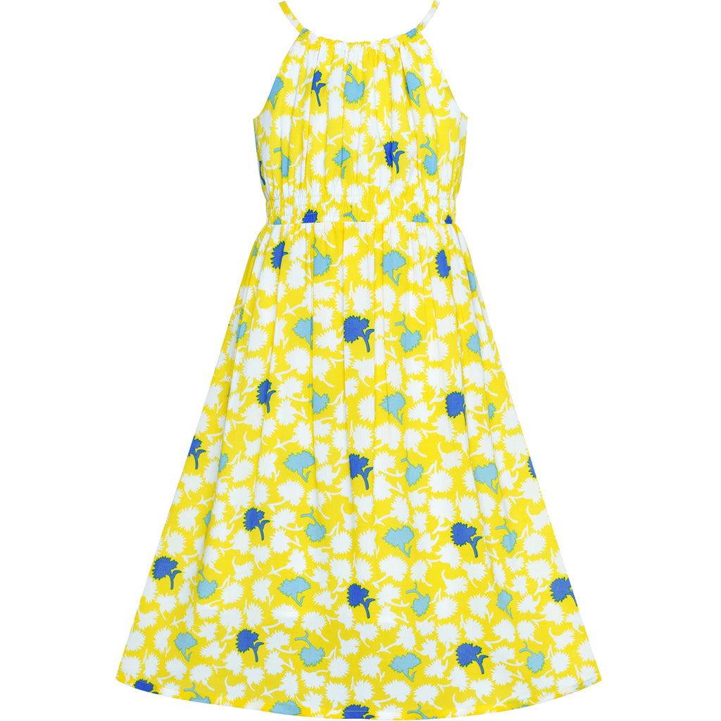 Girls Dress Yellow Leaf Sleeveless Summer Party Size 6-12 Years