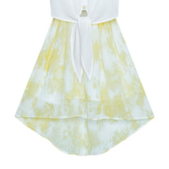 Girls Dress Chiffon Yellow High-Low Tie Waist Party Size 7-14 Years