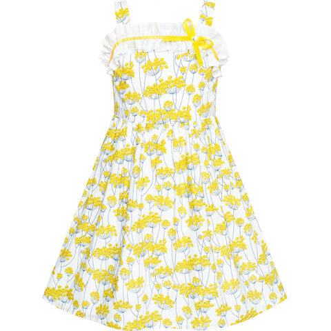 Girls Dress Tank Yellow Flower Party Sundress Size 4-8 Years