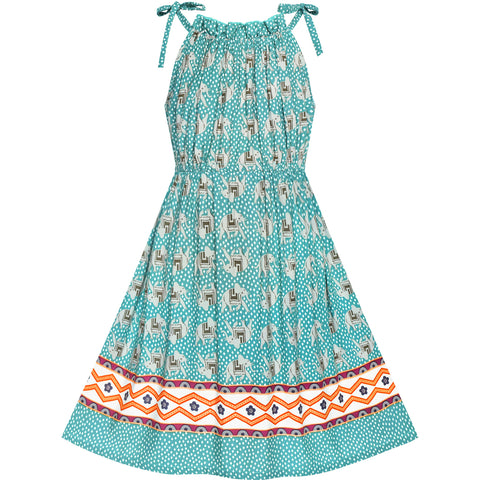 Girls Dress Blue Elephant Cotton Casual Summer Sundress Size 4-8 Years