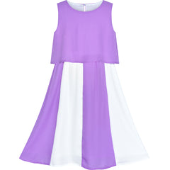 Girls Dress Color Blocks Purple White Chiffon Party Size 6-12 Years