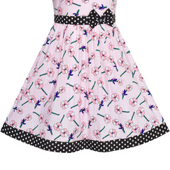 Girls Dress Pink Flower Bow Tie Summer Sundress Size 4-12 Years