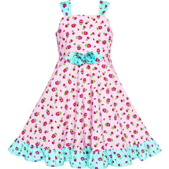 Girls Dress Tank Floral Bow Tie Summer Sundress Size 4-8 Years