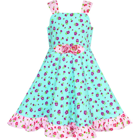 Girls Dress Blue Tank Floral Bow Tie Summer Sundress Size 4-8 Years