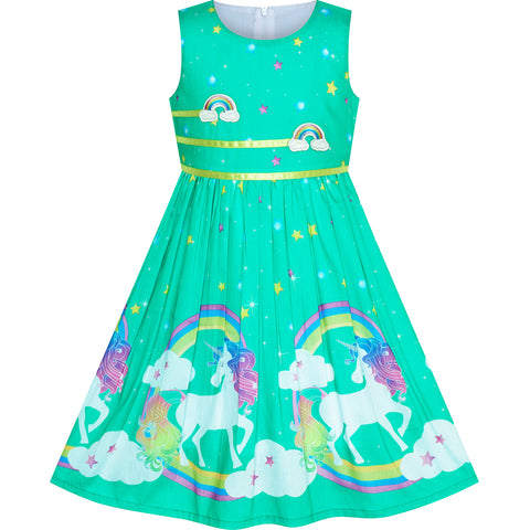 Girls Dress Turquoise Unicorn Rainbow Summer Sundress Size 4-12 Years