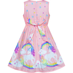 Girls Dress Light Pink Unicorn Rainbow Summer Sundress Size 4-12 Years