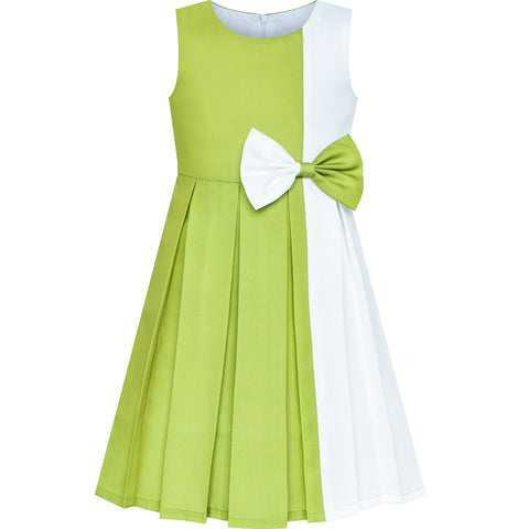 Girls Dress Color Block Contrast White Green Bow Tie Size 4-14 Years