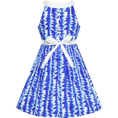 Girls Dress Blue White Bow Tie Beach Halter Dress Size 6-12 Years