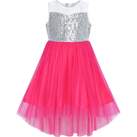 Flower Girls Dress Dark Pink Hi-low Party Wedding Bridesmaid Size 7-14 Years
