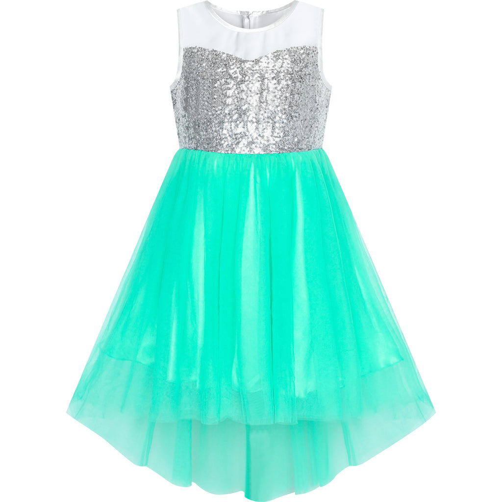 Flower Girls Dress Bright Turquoise Mesh Party Wedding Bridesmaid Size 4-14 Years