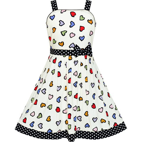 Girls Dress Colorful Heart Black Dot Bow Tie Summer Sundress Size 4-12 Years