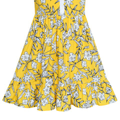 Girls Dress Yellow Flower Tank Sundress Party Size 4-8 Years