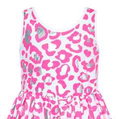 Girls Dress Pink Shinning Leopard Casual Sundress Size 4-8 Years