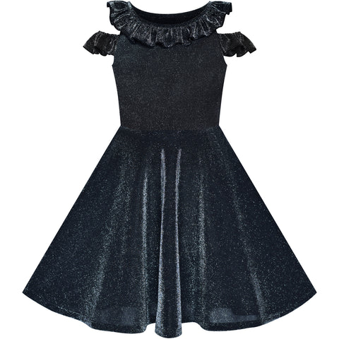 Girls Dress Cold Shoulder Black Dress Sparkling Birthday Size 6-12 Years