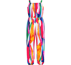 Girls Jumpsuit Colorful Bohemian Style Cotton Holiday Casual Size 7-14 Years