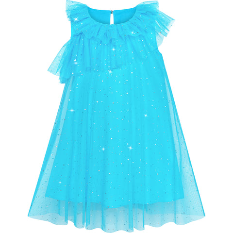Girls Dress Blue Sparkling Tulle Ruffle Wedding Bridesmaid Size 4-8 Years