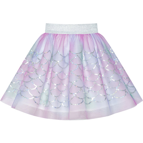 Girls Skirt Mermaid Scales Sequins Sparkling Tutu Dancing Size 2-10 Years