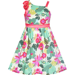 Girls Dress One Shoulder Colorful Flower Dress Birthday Party Size 6-12 Years