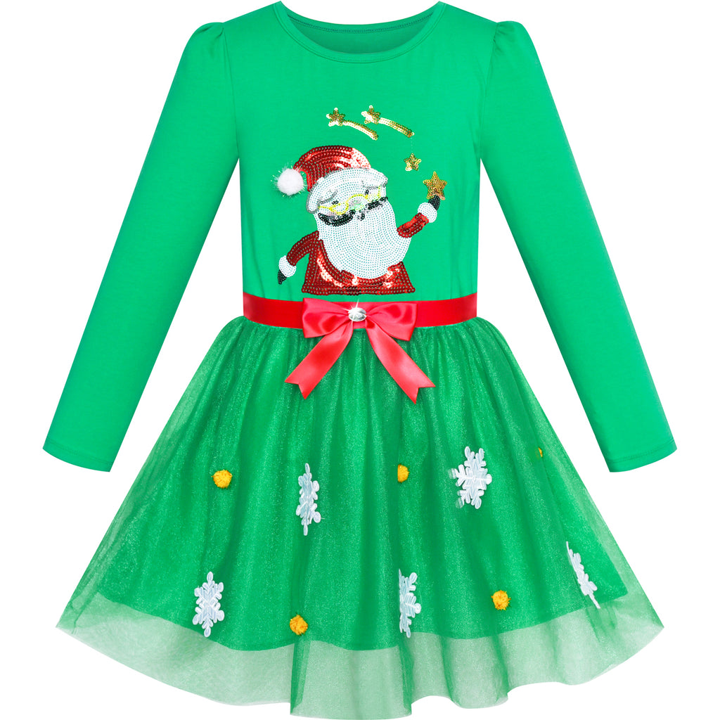 Girls Dress Christmas Santa Snow Long Sleeve Holiday Dress Size 3-7 Years