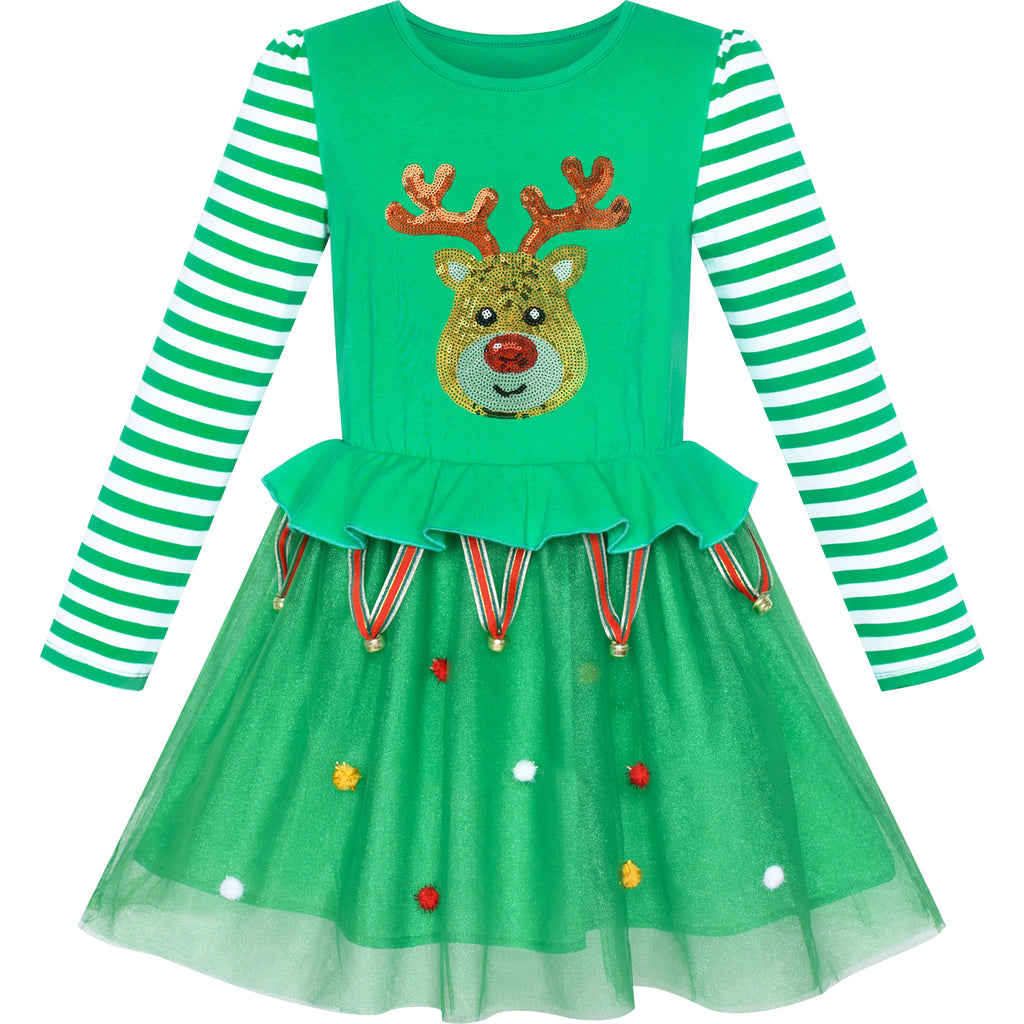 Girls Dress Christmas Reindeer Jingle Bell Party Holiday Dress Size 3-7 Years