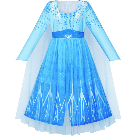 Girls Dress Frozen 2 Elsa Anna Costume Birthday Party Size 4-12 Years