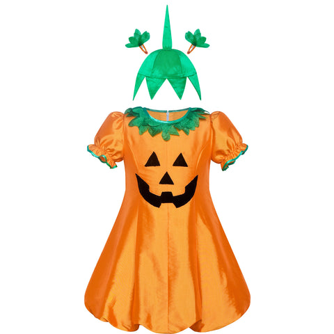 Girls Dress Pumpkin Costume Halloween Trick Treat Party Size 4-8 Years
