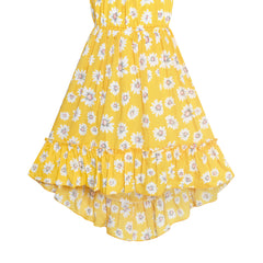 Girls Dress Off Shoulder Yellow Chiffon Floral Hi-Low Party Size 6-12 Years