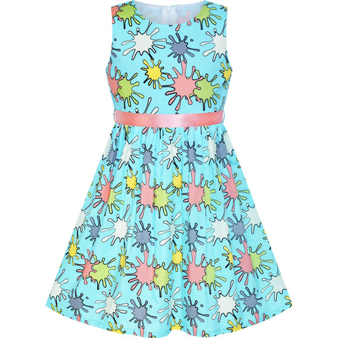 Girls Dress Flower Blue Cotton Casual Summer Sundress Size 2-10 Years